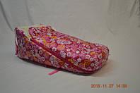 Меховой конверт на санки розовый (в цветочек)