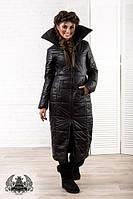 Длинное женское пальто на синтепоне