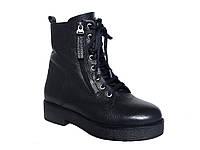 Зимние женские кожаные ботинки со шнуровкой и двумя молниями