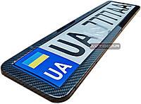 Рамка под номерной знак из нержавеющей стали  ✓ цвет: черный карбон