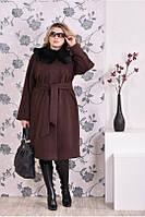 Женское зимнее кашемировое пальто больших размеров (рр 42-74)