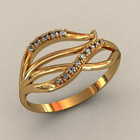 Оригинальное бюджетное золотое кольцо 585* с Фианитами