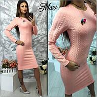 Платье трикотажное косичка облегающее миди 3 цвета 2SMmil760