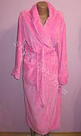Женский махровый длинный халат на запах