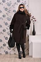 Женское модное теплое кашемировое пальто больших размеров (рр 42-74)