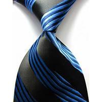 KAILONG Галстук черный с синими полосками
