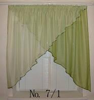 Готовые шторы, ламбрикены для кухни №7/1 зеленая Затишна оселя