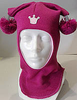 Детская зимняя шапка-шлем и балаклава для девочки шерсть, утеплена холлофайбером с бубончиками