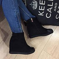 Сникерсы зимние с лаковым носочком ,эко-замш,ботинки женские утепленные на платформе