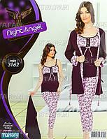 Женская домашняя одежда тройка из Турции Night Angel 3162-R. Размер 44-46.