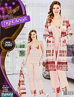 Женская домашняя одежда тройка из Турции Night Angel 3180-R. Размер 44-46.