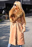 Зимнее кашемировое пальто, с натуральным меховым воротником-енота, воротник съемный.