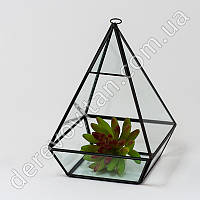 """Стеклянная ваза для флорариума, """"фонарик"""" большой, 20 см"""