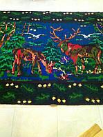 Шерстянний килим з оленями ручна робота 270*170