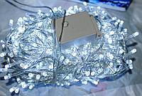 Новогодняя лед гирлянда нитка  500 белых диодных ламп,бесцветный силиконовый кабель, 24 метра