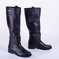 Женские демисезонные сапоги на низком каблуке, кожа