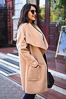 Пальто кашемировое с накладными карманами и поясом в комплекте