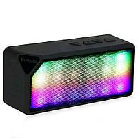 Bluetooth блютуз беспроводная колонка черная, LED, USB, micro SD, FM, AUX