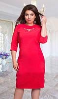 Платье женское батал вставка гипюра, фото 1