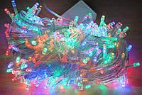 Диодная новогодняя гирлянда нить, Микс- 4х цвета,400 лед ламп, 20 метров,прозрачный силиконовый провод