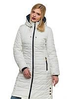 Женское зимнее стеганное пальто (белый), рр 44-56