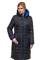 Женское зимнее стеганное пальто (черный), рр 44-56