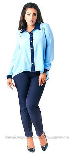 Костюм женский полубатал блуза на пуговицах+брюки