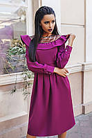 Платье женское с рюшей и вставкой кожи манжеты, фото 1