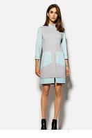 Короткое комбинированное платье с накладными карманами