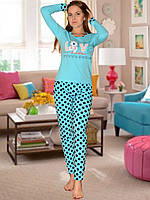 Пижама (кофта и брюки) (Голубой)