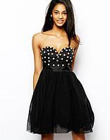 Эксклюзивное короткое платье, расшитое жемчугом с фатином
