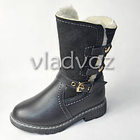 Зимние кожаные сапоги для девочки серые 27р.