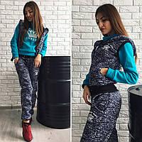 Теплый спортивный костюм тройка Chanel. Кофта, жилетка, штаны. Разные цвета.