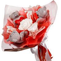 Букет из мягких игрушек Мишки Тэдди с конфетами Raffaello