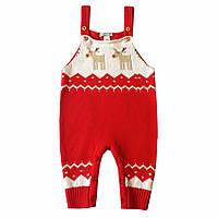 Трикотажный детский комбинезон - штаны, Красный р. 6-18 мес