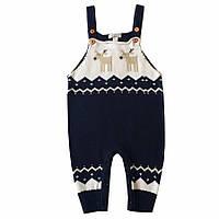 Трикотажный детский комбинезон - штаны, Синий р. 6-18 мес