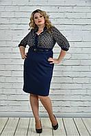 Женское деловое платье с шифоном 0321 цвет синий размер 42-74