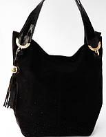 Женская сумка из натуральной замши со стразами Meglio
