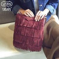 Бордовая сумка женская с бахромой