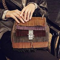 Маленькая женская сумка с бахромой