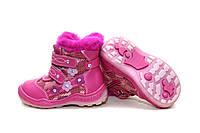 Зимние сапожки на девочку. Кожаные розовые сапоги на натуральном меху.