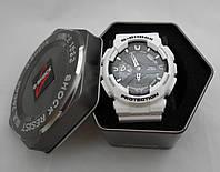 Часы противоударные G-Shock - GA-110RG, стальной бокс, белые с черным