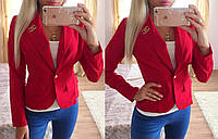 """Модный женский однобортный пиджак (укороченный, длинные рукава, декор брошь """"Chanel"""") РАЗНЫЕ ЦВЕТА!"""