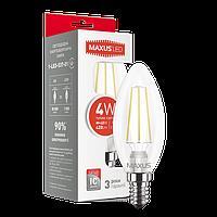 Светодиодная лампа MAXUS 4Вт C37 FM-C E14 Теплый белый 3000К