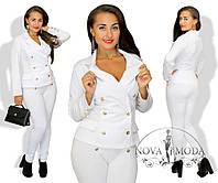 Женский Элегантный костюм с брюками белый  Батал