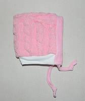 Шапочка для новорожденных (зимняя) розовая