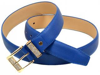 Красивый Ремень Женский искусственная кожа H2115-4 blue, синий, ДхШ: 100х3,2 см