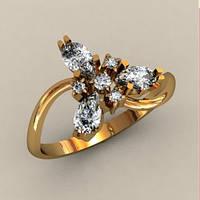 Треугольное интересное женское золотое колечко 585* пробы со вставками
