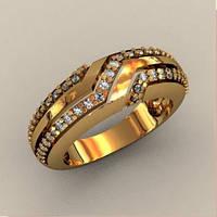 Модное женское золотое кольцо 585* пробы с Фианитами