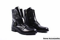 Ботинки женские кожаные Nicole (ботильоны, стильные, каблук, овчина, антискользящая подошва, Польша)